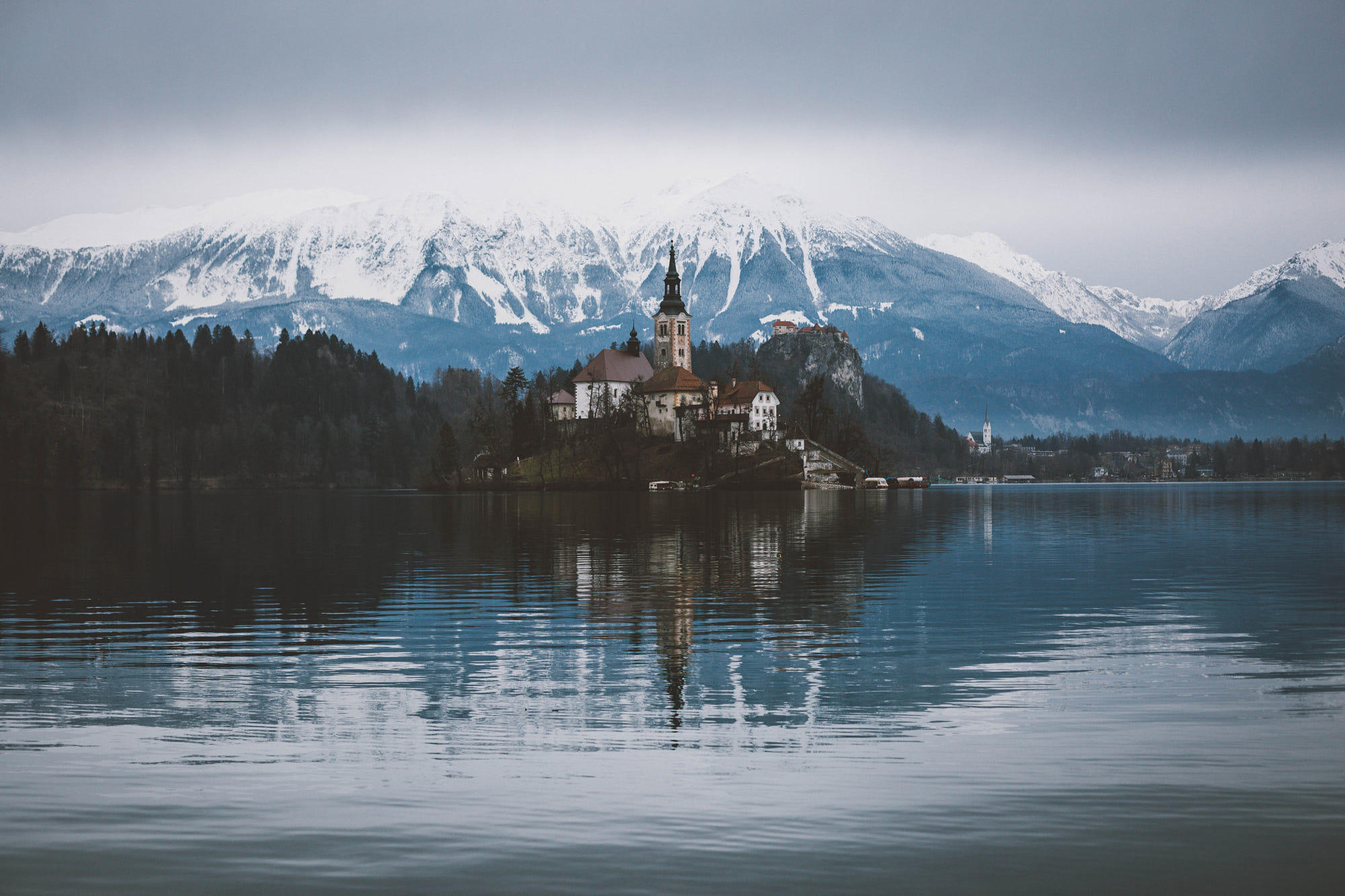 Lake bled on a calm winter day.